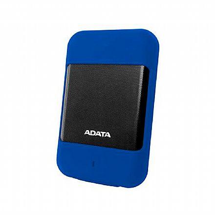 HD Externo Portátil 1TB Adata HD700 - Proteção Anti Impacto - USB 3.1 - Preto e Azul - AHD700-1TU31-CBL