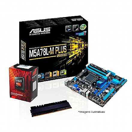 Kit AMD FX-6300 + Asus M5A78L-M PLUS/USB3 + Memória 4GB DDR3