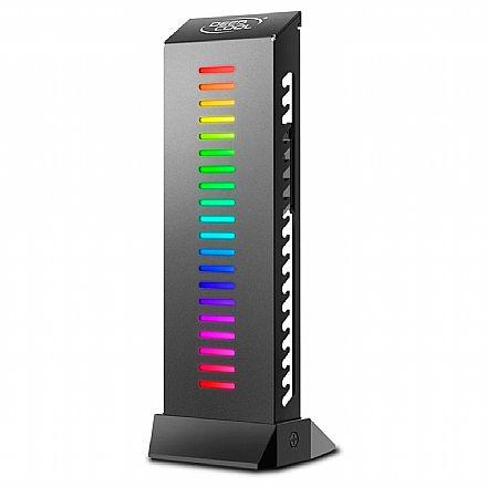 Suporte para Placa de Vídeo Deepcool - com Ajuste de altura e Passagem para Cabos - Suporta até 5Kg - LED RGB - GH-01 ADD-RGB