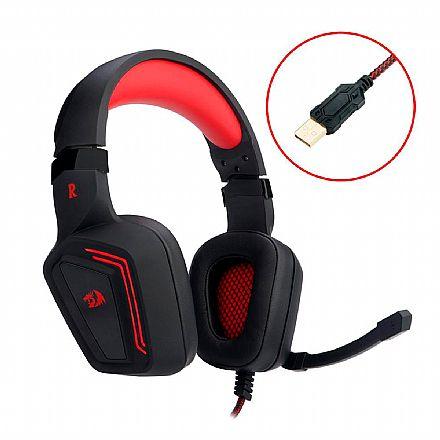 Headset Gamer Redragon Muses 7.1 - LED Vermelho - Driver de Vibração - Controle de volume no Fone - Conector USB - H310