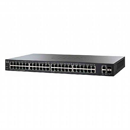 Switch 48 portas Cisco SG220-50-K9-BR - Gerenciável - 48 portas Gigabit + 2 portas SFP