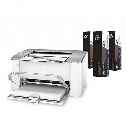Impressora HP Laser Jet Ultra M106W - 110V - USB e Wi-Fi - G3Q39A *Acompanha 3 Toners
