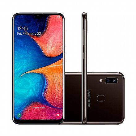 """Smartphone Samsung Galaxy A20 - Tela 6.4"""" Super AMOLED Infinita, 32GB, Dual Chip 4G, Câmera Dupla 13MP + 5MP, Leitor de Digital - Preto - SM-A205G/32DL"""