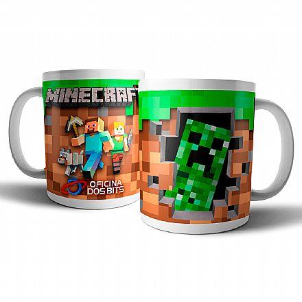 Caneca de porcelana - Minecraft: Creeper - Oficina dos Bits