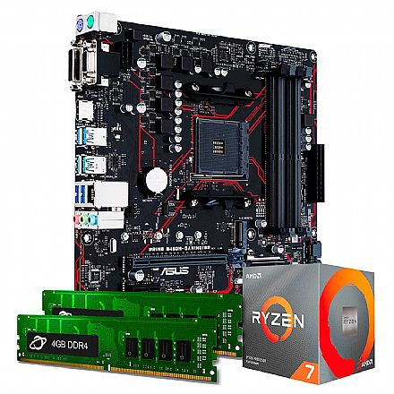 Kit Upgrade AMD Ryzen™ 7 3700X + Asus PRIME B450M GAMING/BR + Memória 16GB DDR4