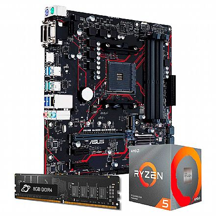 Kit Upgrade AMD Ryzen™ 5 3600 + Asus PRIME B450M GAMING/BR + Memória 8GB DDR4