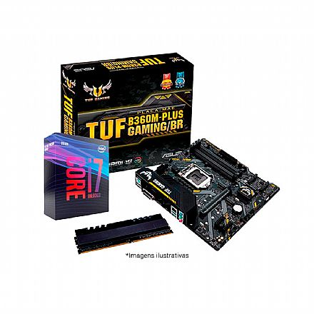Kit Intel® Core™ i7 9700K + TUF B360M-PLUS GAMING/BR + Memória 8GB DDR4