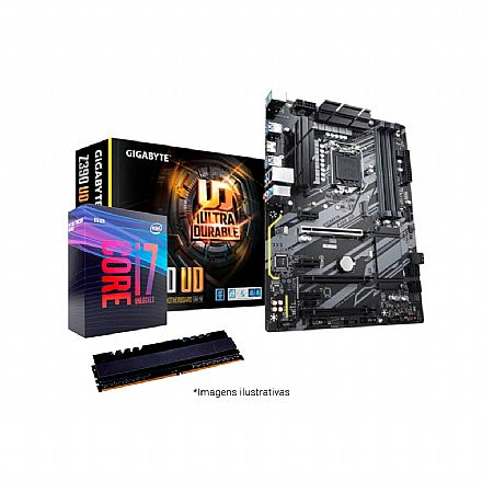 Kit Intel® Core™ i7 9700K + Gigabyte Z390 UD + Memória 8GB DDR4