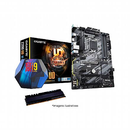 Kit Intel® Core™ i9 9900K + Gigabyte Z390 UD + Memória 16GB DDR4