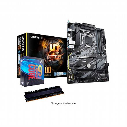 Kit Intel® Core™ i9 9900KF + Gigabyte Z390 UD + Memória 16GB DDR4