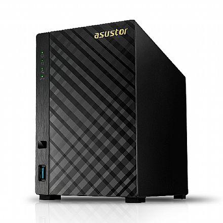 Sistema de Storage de 2 baias Asustor NAS AS1002T V2 - Processador Marvell Armada 385 1.6 GHZ - Gigabit - USB 3.0 - Suporta 2 HDs SATA
