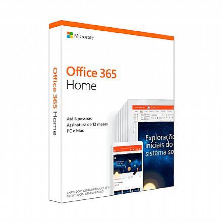 Office 365 Home 2019 - Licença Anual para 6 usuários + 1 TB de Armazenamento One Drive por usuário - 1 PC ou Mac + 1 Tablet ou Smartphone - 6GQ-00952