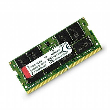 Memória SODIMM 16GB DDR4 2666MHz Kingston - para Notebook - 1.2V - KVR26S19D8/16
