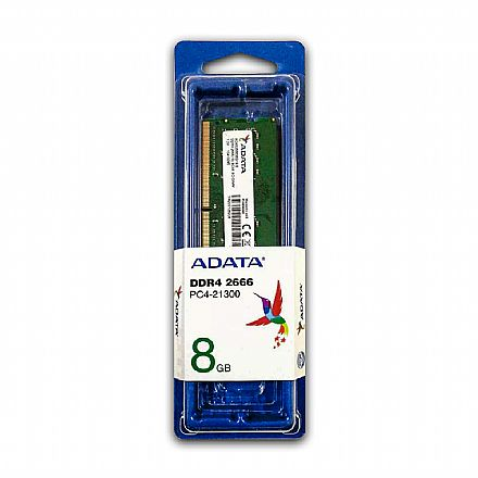 Memória SODIMM 8GB DDR4 2666MHz Adata - para Notebook - AD4S266638G19S