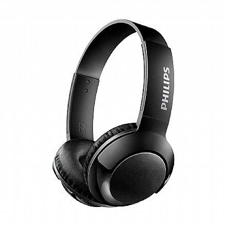 Fone de Ouvido Bluetooth Philips Bass+ SHB3075BK/00 - com Microfone Embutido - Preto
