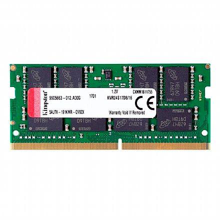Memória SODIMM 16GB DDR4 2400MHz Kingston - para Notebook - CL17 - 1.2V - KVR24S17D8/16 [i]