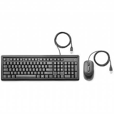 Kit Teclado e Mouse HP 160 - ABNT2 - 1000dpi - USB - 6HD76AA