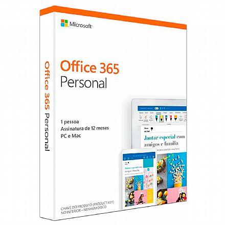 Office 365 Personal - Licença Anual para 1 usuário - 1 TB de Armazenamento One Drive - 1 PC ou Mac + 1 Tablet ou Smartphone - QQ2-00721