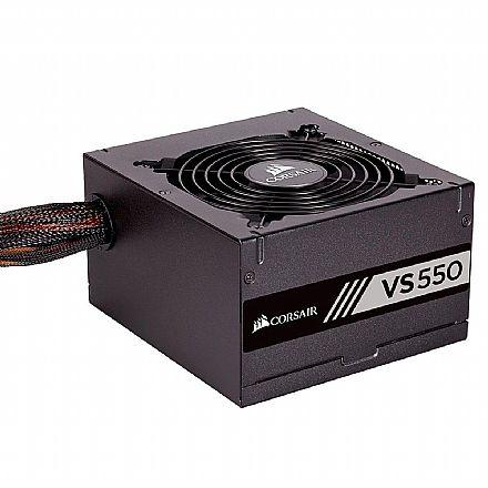 Fonte 550W Corsair VS550 - PFC Ativo - 80% Eficiência - 80 PLUS® White - CP-9020171-BR