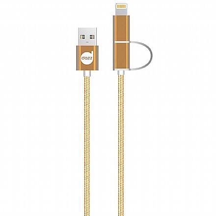 Cabo Lightning e Micro USB para USB - 2 em 1 - Micro USB e Lightning para iPhone - 90cm - Dourado - Nylon Entrelaçado - Licenciado Apple - Dazz 6013868
