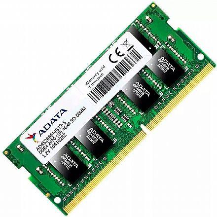 Memória SODIMM 4GB DDR4 2666MHz Adata - para Notebook - Low Voltage 1.2v - AD4S2666J4G19S