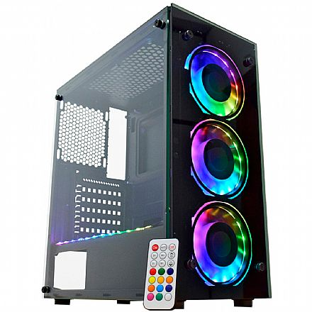 Gabinete Gamer K-Mex Atlantis IV - Painel Frontal e Lateral em Vidro Temperado - com Coolers e Fita LED RGB Rainbow - Controle Remoto - CG-04N9