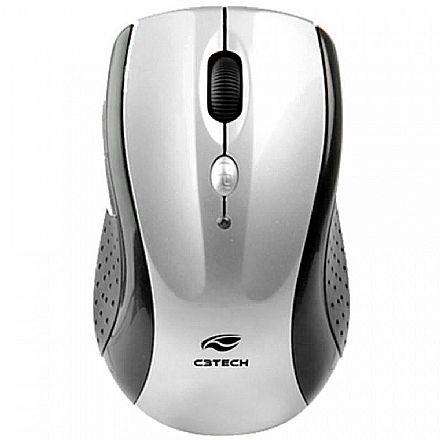 Mouse sem Fio C3 Tech M-W012SI V2 - 2.4GHz - 1600dpi - 6 botões - Preto e Prata