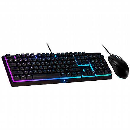 Kit Teclado e Mouse Gamer Cooler Master MS111 - Mouse 3500 DPI - ABNT2 - Iluminação RGB - Semi Mecânico - Teclas Anti-Ghosting - MS111-KKMF1-BR