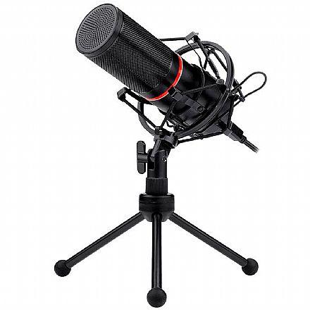 Microfone Condensador USB Redragon Blazar - Cabo 1,7m - Ideal para Mesa de Gravação e vídeos Youtube - GM300