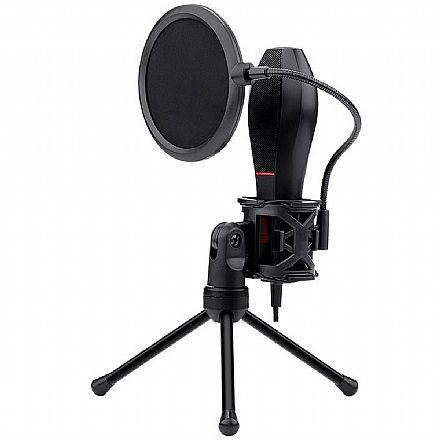 Microfone Condensador USB Redragon Quasar - Cabo 1,5m - Ideal para Mesa de Gravação e vídeos Youtube - GM200