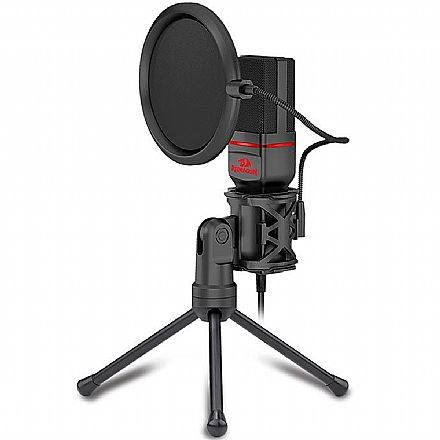 Microfone Condensador USB Redragon Seyfert - Cabo 1,8m - Ideal para Mesa de Gravação e vídeos Youtube - GM100