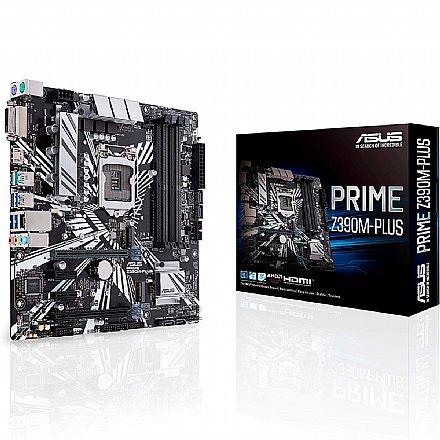 Asus Prime Z390M-PLUS (LGA 1151 - DDR4 4266) Chipset Intel Z390 - USB 3.1 Geração 1 - Slots M.2 - LED RGB - mATX