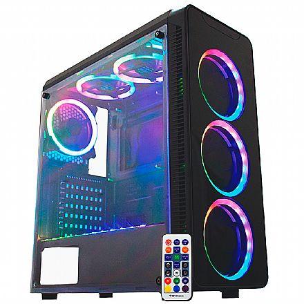 Gabinete Gamer K-Mex Infinity SYNC - Janela Lateral de Acrílico - Painel Frontal de Vidro Temperado - com Coolers e Fita LED RGB Rainbow - Controle Remoto - CG-06G8