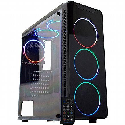 Gabinete Gamer K-Mex Infinity Streamer - Painel Frontal em Vidro Fumê Temperado - Janela Lateral de Acrílico - com Coolers e Fita LED ARGB Rainbow Streamer - Controle Remoto - CG-07G8