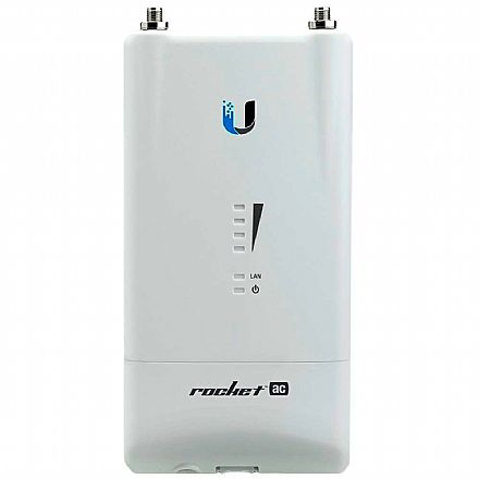 BaseStation Ubiquiti Rocket 5AC Lite airMAX - 5 GHz - 1 porta PoE Gigabit - Throughput TCP efetivo de até 500Mbps - R5AC-LITE