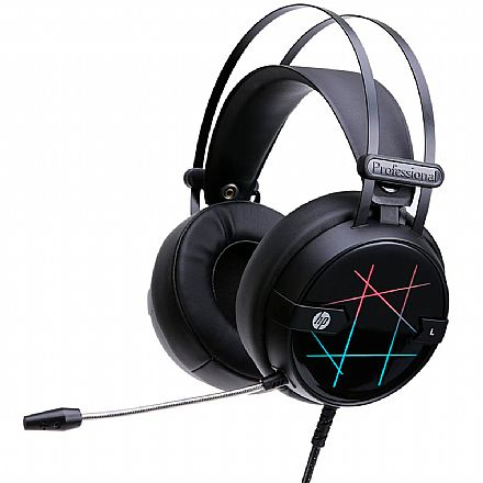 Headset Gamer HP H160G - Com Microfone - Iluminação LED - USB - Preto - 4QN20AA