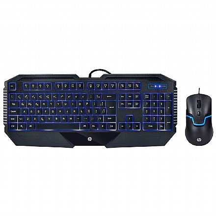 Kit Teclado e Mouse Gamer HP GK1100 - ABNT - USB - 1600dpi - com LED Azul - 7JH30AA
