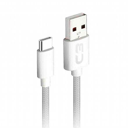 Cabo USB-C para USB - 2 Metros - Branco - C3Tech CB-C21WH C3PLUS