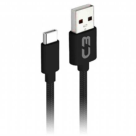 Cabo USB-C para USB - 2 Metros - Preto - C3Tech CB-C21BK C3PLUS