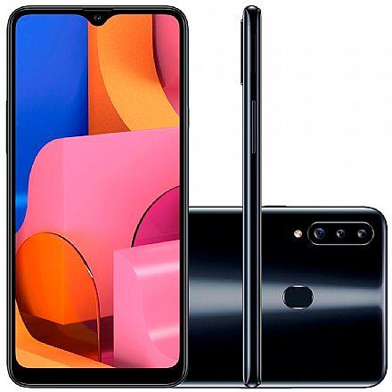"Smartphone Samsung Galaxy A20s - Tela 6,5"" HD+, 32GB, Dual Chip 4G, Câmera Tripla 13MP - Preto - A207M/32DL"