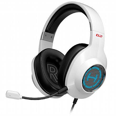 Headset Gamer Edifier G2 II - com Controle de Volume e Microfone Removível - LED RGB - Som Virtual 7.1 Surround - USB - Branco - G2II-WH