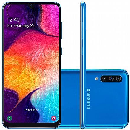 """Smartphone Samsung Galaxy A50 - Tela 6.4"""" Super AMOLED, 128GB, Dual Chip, Câmera Tripla 25MP, Leitor de Digital na tela - Azul - SM-A505GT"""
