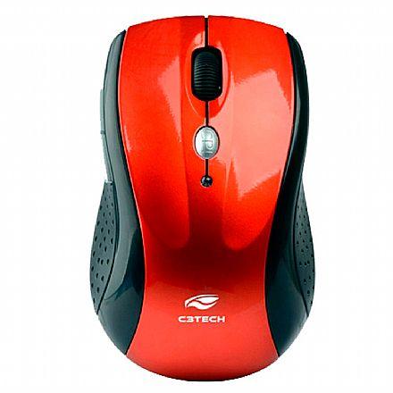 Mouse sem Fio C3 Tech M-W012 RD V2 - Receptor Nano USB - 2.4GHz - 1600dpi - vermelho