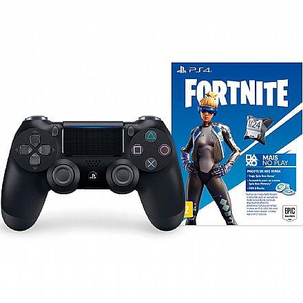 Controle Gamepad Sony Dual Shock para PS4 - Sem Fio - Preto + Voucher Fortnite - CUH-ZCT2U