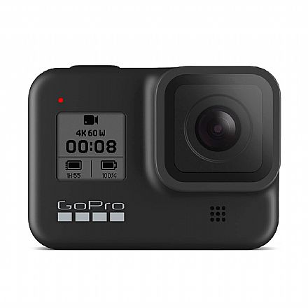 GoPro Hero 8 Black Bundle Kit - 12 Mega Pixels com HDR - Gravação em 4K - Acompanha Cartão 32GB, Bateria, Suporte de Cabeça, Bastão GoPro - SPJB1-CHDRB-801
