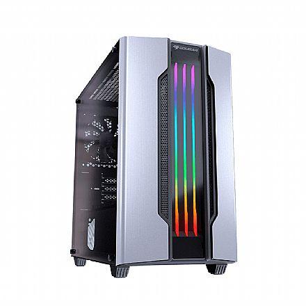 Gabinete Gamer Cougar Gemini M Silver - Mini Tower - LED RGB - Janela Lateral em Vidro Temperado - 385TMB0.0002