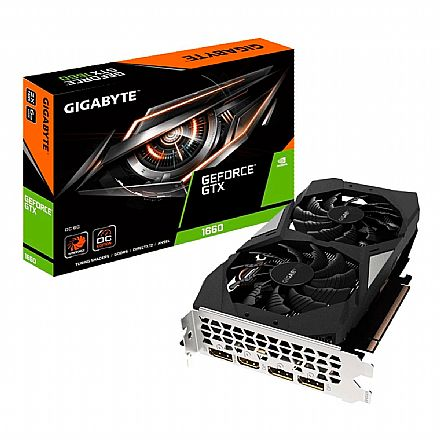 GeForce GTX 1660 6GB GDDR5 192bits - Windforce 2X OC - Gigabyte GV-N1660OC-6GD