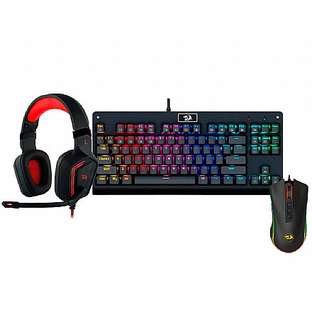 Kit Gamer Redragon - Teclado Mecânico Dark Avenger RGB + Mouse Cobra Chroma + Headset Muses 7.1