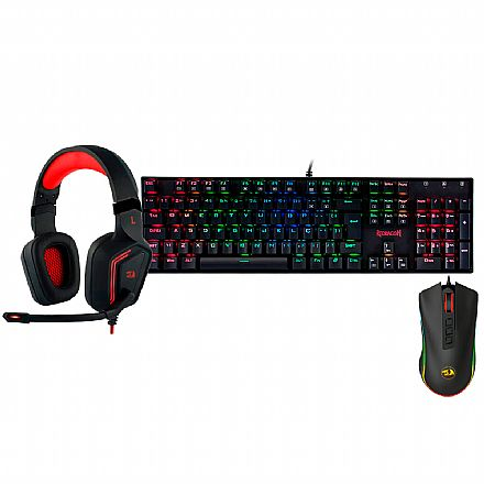 Kit Gamer Redragon - Teclado Mecânico Mitra RGB + Mouse Cobra Chroma + Headset Muses 7.1