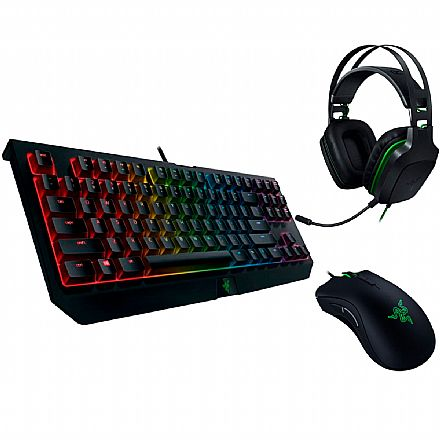 Kit Gamer Razer - Teclado Mecânico  Blackwidow Tournament V2 Chroma + Mouse Deathadder Elite + Headset Electra V2